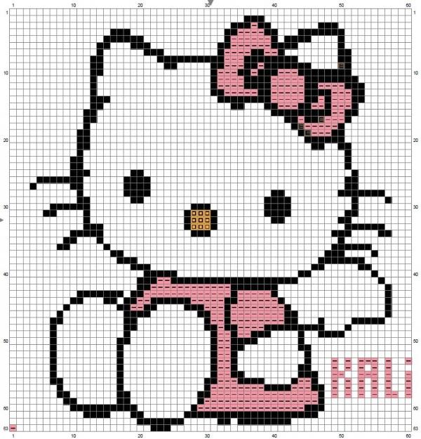 Схема вышивки крестом Kitty с бантом