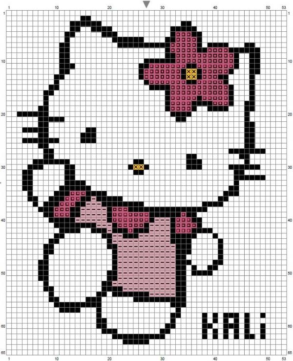Схема вышивки крестом Kitty с цветком