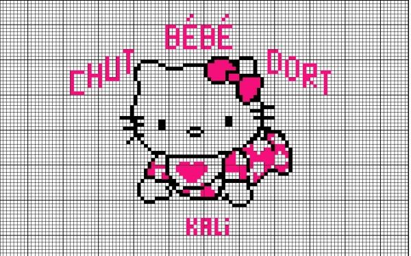 Схема вышивки крестом Kitty в ползунках