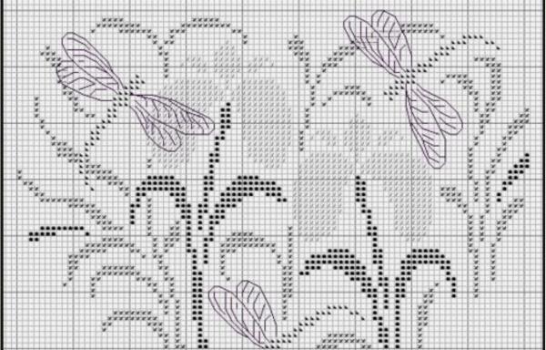 Схема вышивки крестом стрекоз