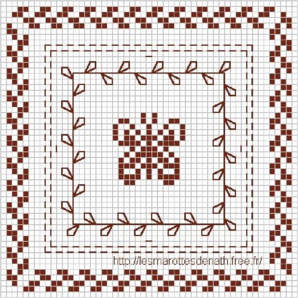 Схема для вышивки крестом бабочки в орнаменте