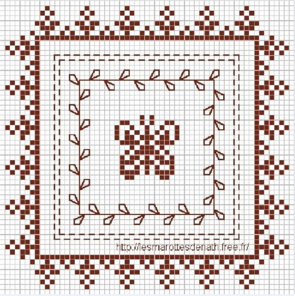 Схема вышивки крестом бабочки в орнаменте
