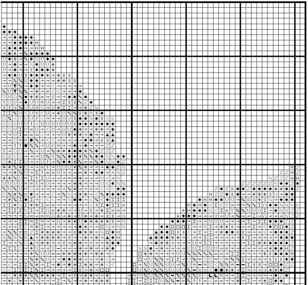 Схема для вышивки крестом листа каштана