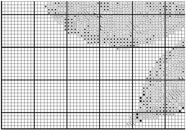 Схема вышивки крестом каштанового листка