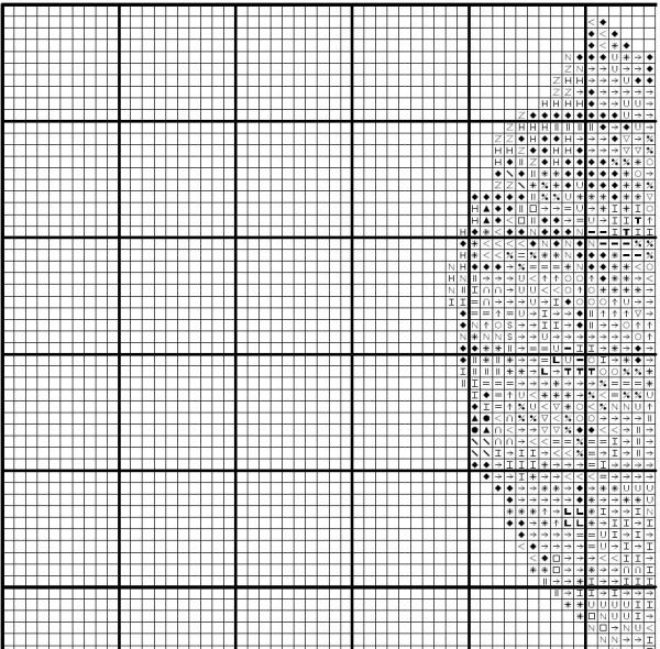 Схема вышивки крестом листа каштана