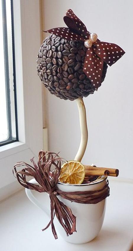 Как сделать топиарий из кофейных зерен своими