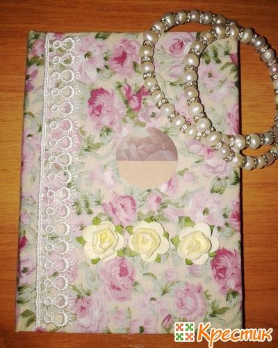 Текстильный блокнот с розами