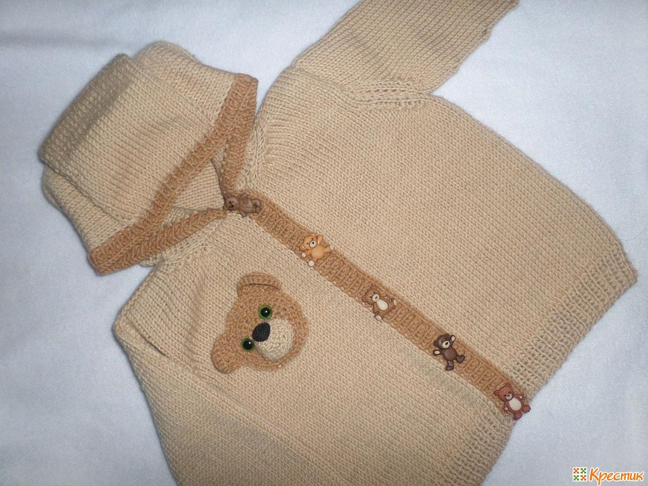 вязание спицами свитера с забавным мишкой для детей до года