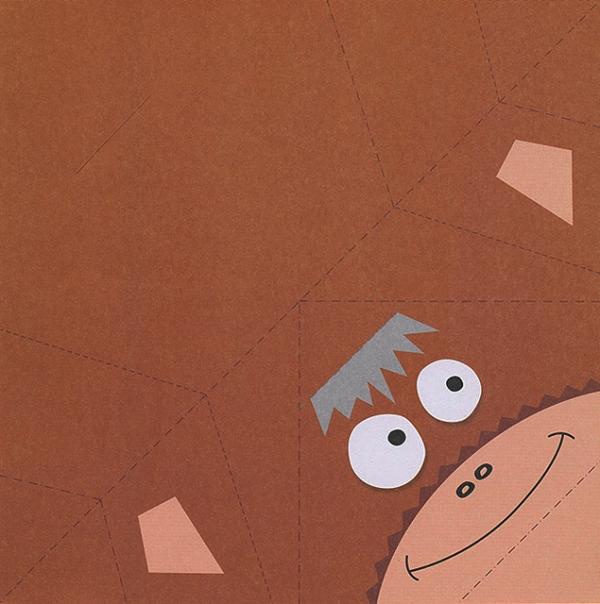 Шаблон обезьяны Оригами