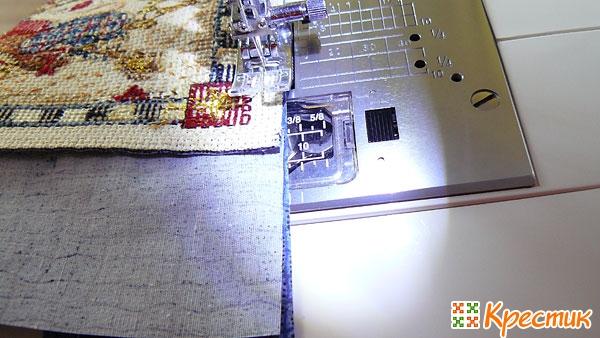 Пришиваем ткань по бокам