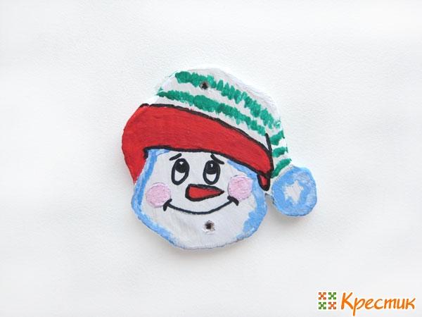 Лицо снеговика готово