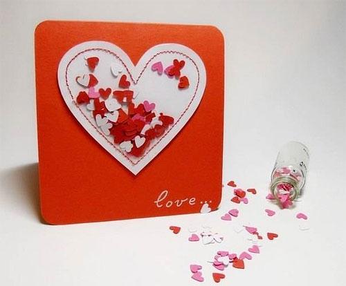 Открытка с сердечками на 14 февраля