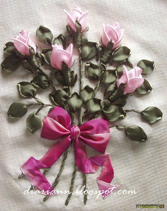 Пример работы с вышитыми бутонами роз