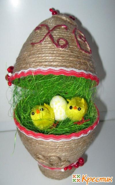 Пасхальное яйцо с цыплятами