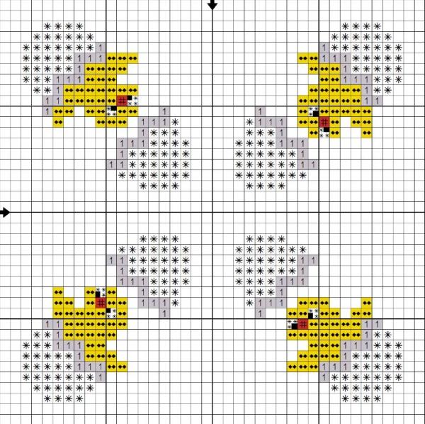 Схема вышивки крестом бискорню с цыплятами