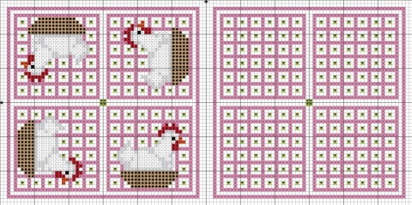 Схема вышивки крестом бискорню с курицами