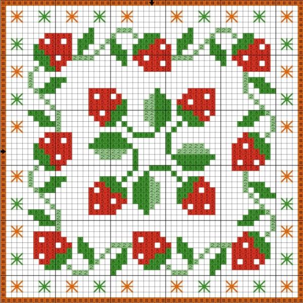 Схема вышивки крестом бискорню с земляникой