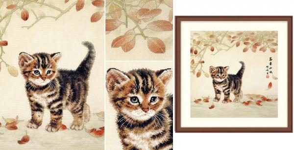 Котенок и листья