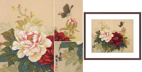 Пион вышивка от Xiu Crafts