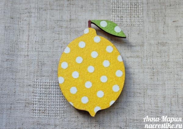 Магнит лимон в технике Декупаж