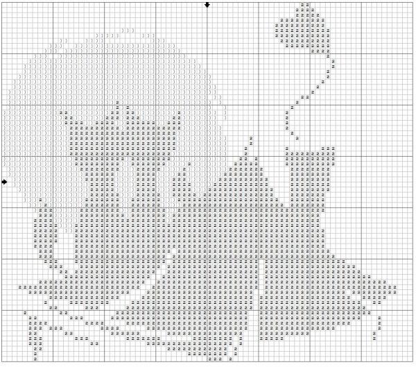Схема вышивки крестом пары котов на фоне луны