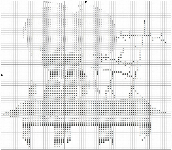 Схема вышивки крестом влюбленных котов на крыше