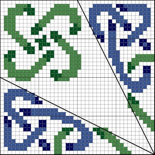 Схема вышивки клубнички боковая часть