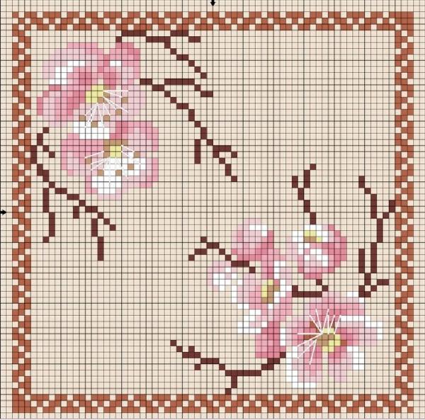 Пендибуль Япония цветная схема вышивки