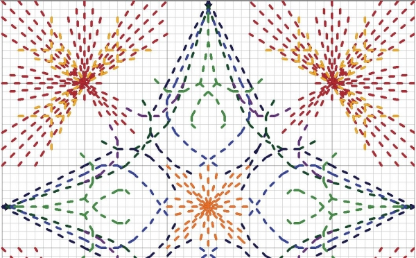 Схема вышивки зигугу бэк-ститч