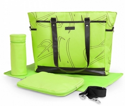 Салатовая сумка с кофром для термоса