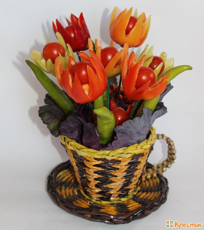 Поделка цветы из фруктов 50