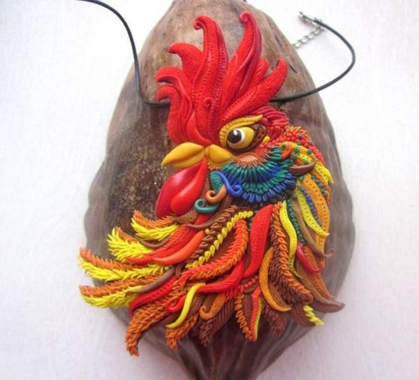 Огненный петух из полимерной глины