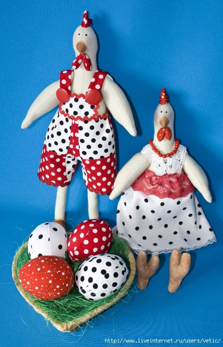 Петух и курочка в стиле тильда