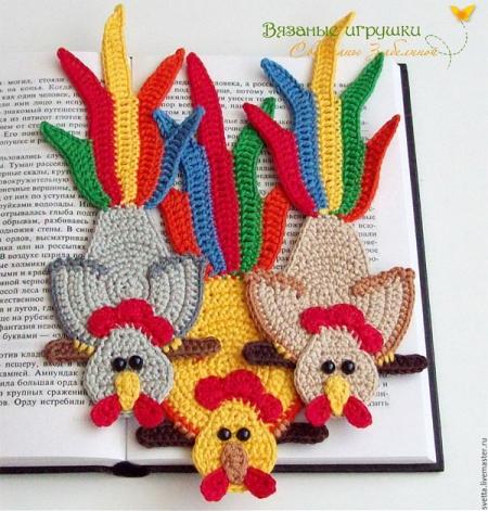 Закладки для книг петушки