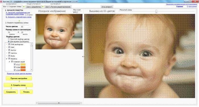 Главное окно программы Крестик - создание схемы из фото малыш