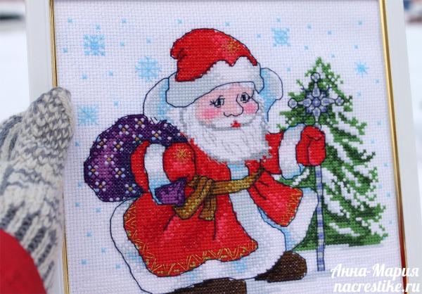Вышивка крестиком Дед Мороз