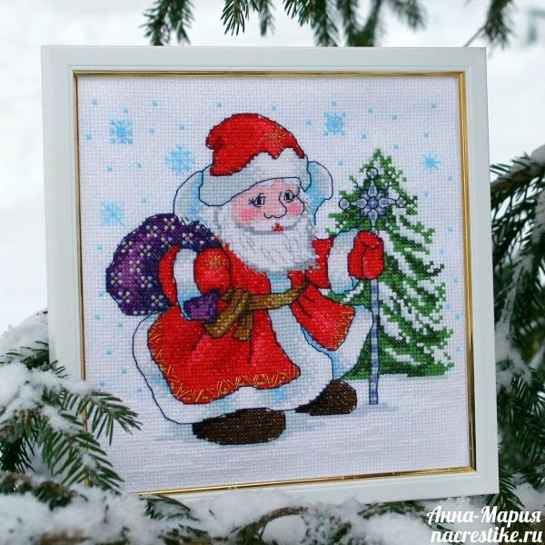 Вышивка крестом Дед Мороз