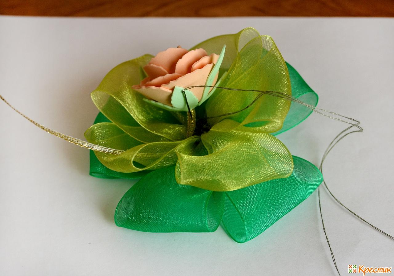 Как сделать лепесток цветка из ленты фото 868