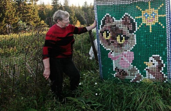 Мозаика из пробок Кошка