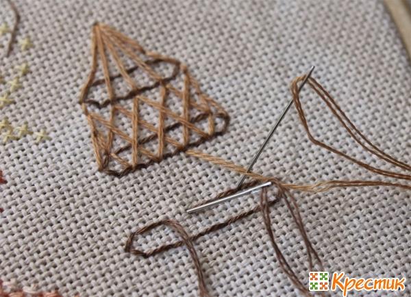 Вышивка двумя иглами