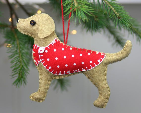 Новогодняя собачка из фетра