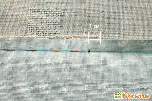 Пришиваем первую полоску ткани