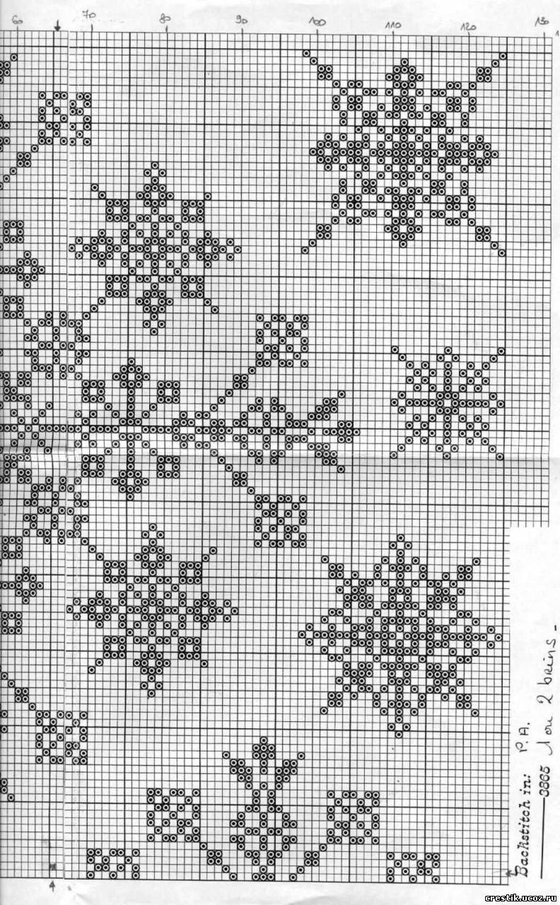Вышивка снежинки крестом 31