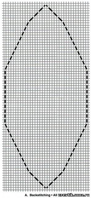 Схема вышивки контура лепестка для шарика