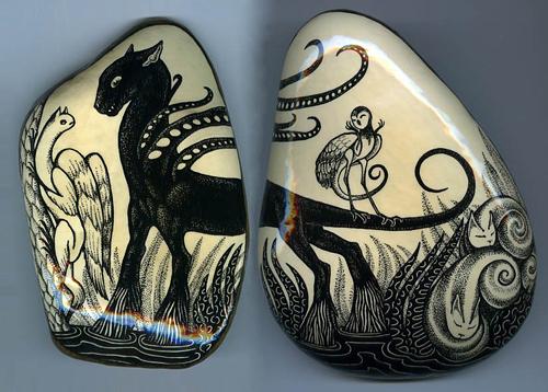 Роспись на камнях Леонарда Попова
