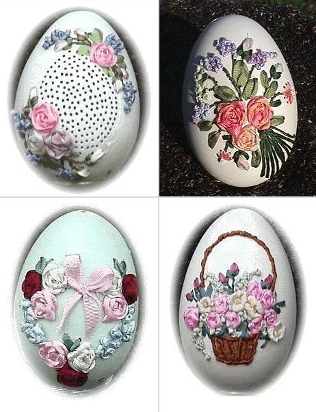 вышивка лентами на яйце