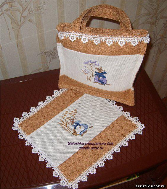 вышивка на сумках и салфетках
