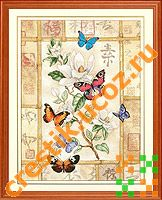 Бабочки на фоне иероглифов - схема вышивки