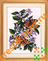 Бабочки на ежевике - схема вышивки
