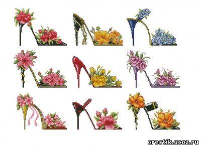 Вышивка крестом схемы туфельки цветы
